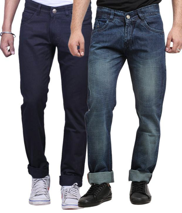 X-cross Black and Blue Cotton Blend Regular Fit Jeans - Pack Of 2