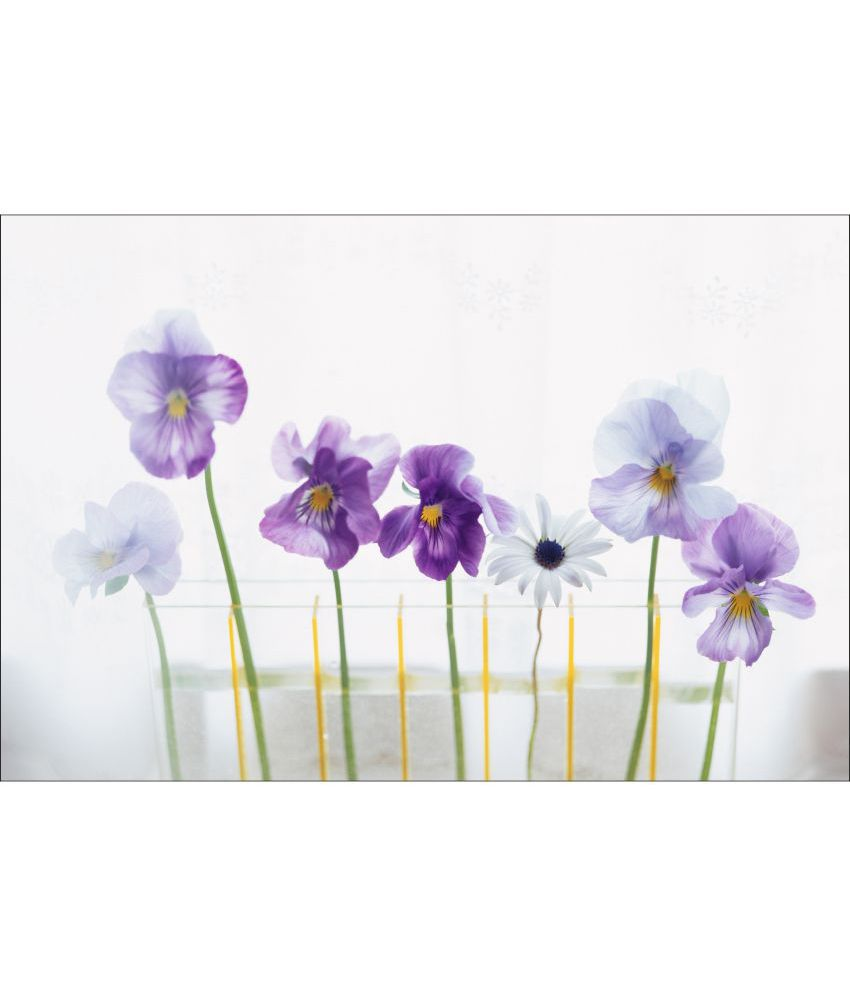 Retcomm Art Digital Print Wall Art Purple Panzies Floral Painting