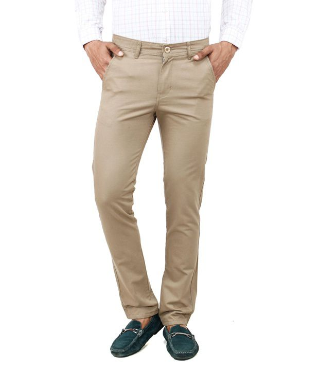 Uber Urban Silver Cotton Casuals Slim Fit Chinos