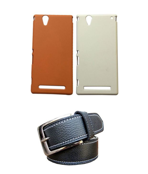 Winsome Deal Black Belt with 2 Back Cover Cases for Sony Xperia T2