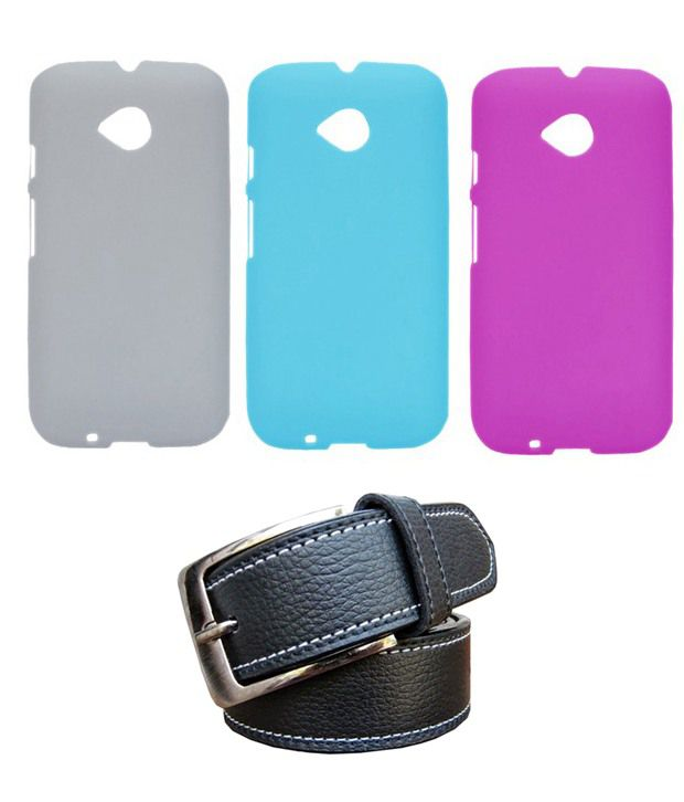 Winsome Deal Black Belt with 3 Back Cover Cases for Motorola Moto E2