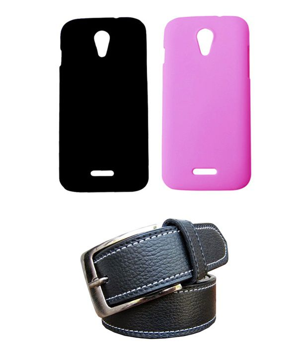 Winsome Deal Black Belt with 2 Back Cover Cases for Micromax Canvas 2.2 A114