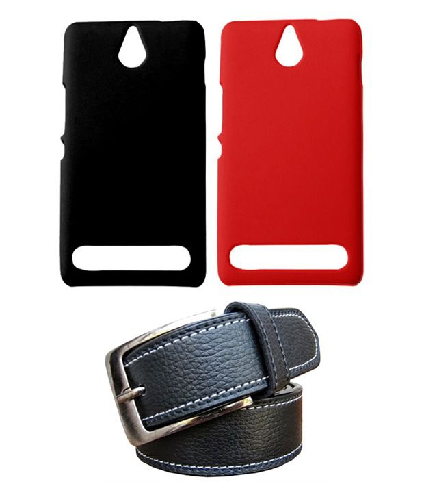Winsome Deal Black Belt with 2 Back Cover Cases for Sony Xperia E1
