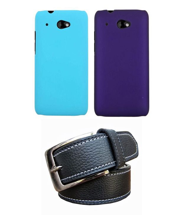 Winsome Deal Black Belt with 2 Back Cover Cases for HTC Desire 601