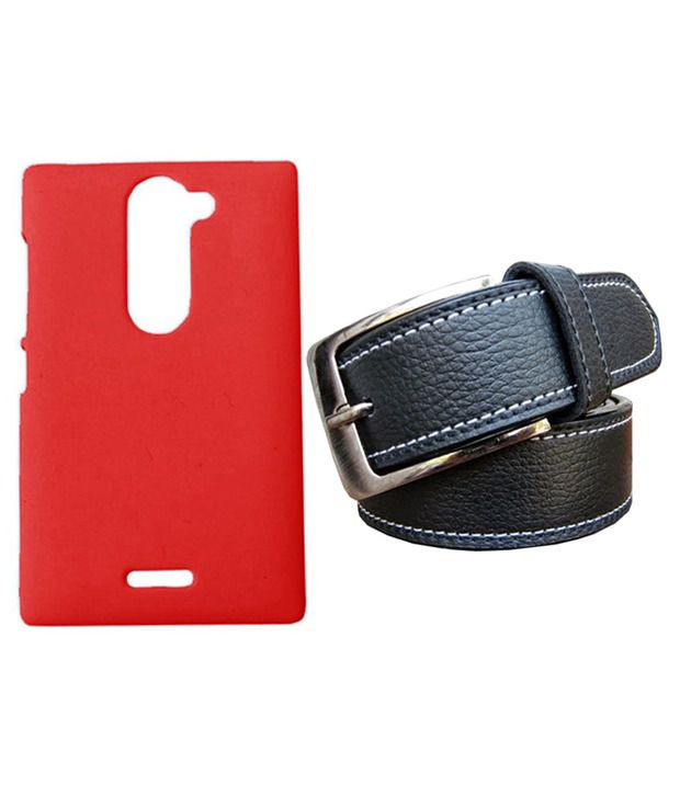 Winsome Deal Black Belt with Back Cover Case for Nokia Asha 502