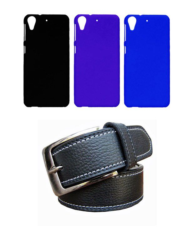 Winsome Deal Black Belt with 3 Back Cover Cases for HTC Desire 626