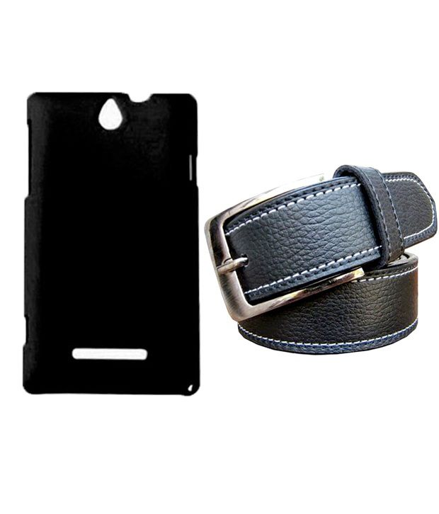 Winsome Deal Black Belt with Back Cover Case for Sony Xperia E
