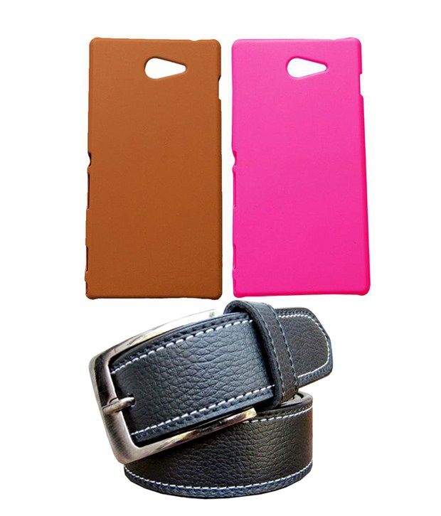 Winsome Deal Black Belt with 2 Back Cover Cases for Sony Xperia M2