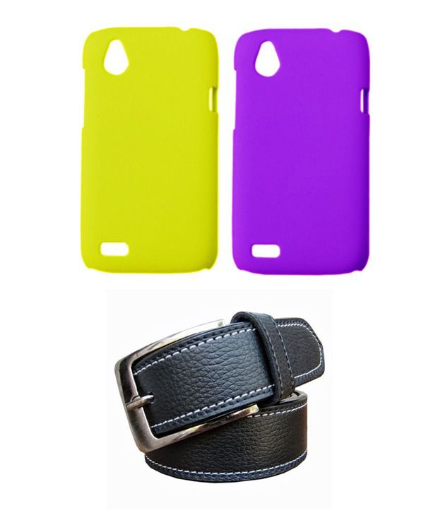 Winsome Deal Black Belt with 2 Back Cover Cases for HTC Desire T328D