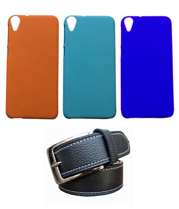 Winsome Deal Black Belt with 3 Back Cover Cases for HTC Desire 820