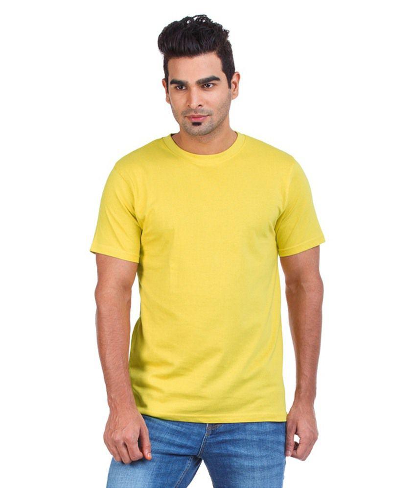 Ambe Exports Yellow Cotton T-shirt