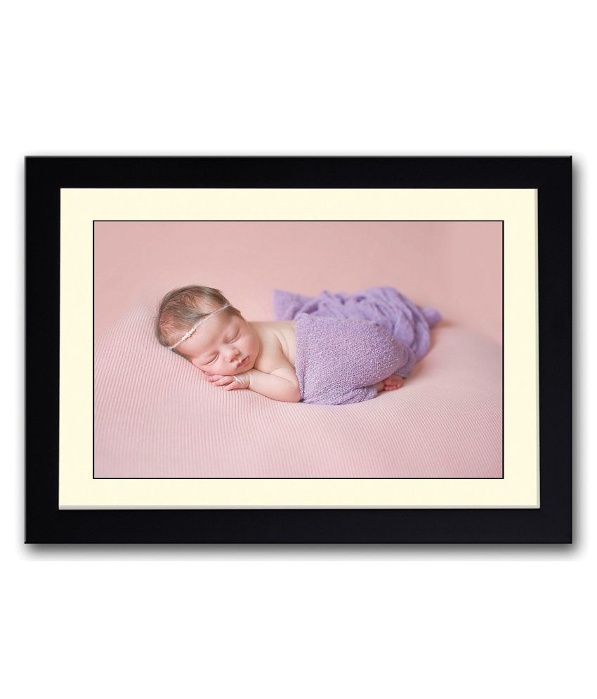 Artifa Matte Adorable Baby In Purple Painting With Metal Frame
