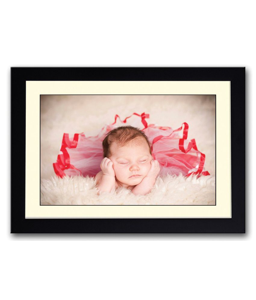 Artifa Matte Baby In Red Net Dress Painting With Metal Frame