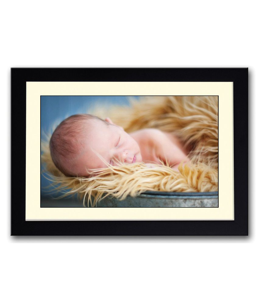 Artifa Matte Baby Sleeping In Golden Fur Painting With Wood Frame