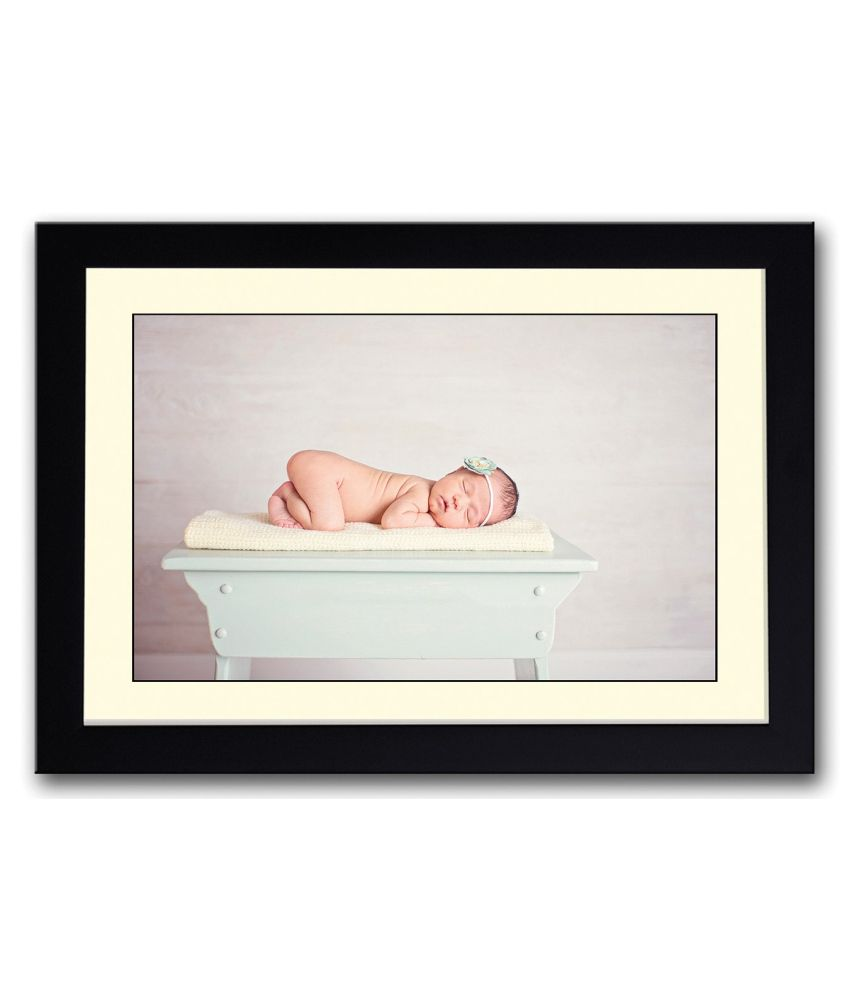 Artifa Matte Baby Sleeping On Table Painting With Metal Frame