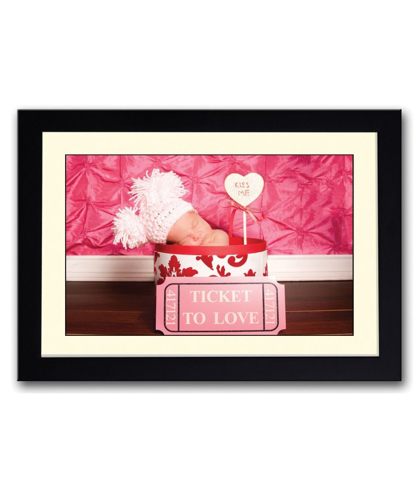 Artifa Matte Baby With A Kiss Me Sign Painting With Wood Frame