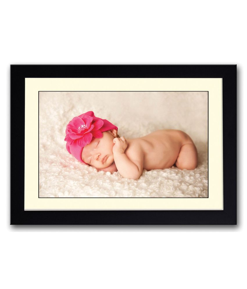 Artifa Matte Baby With A Pink Rose Hat Painting With Wood Frame