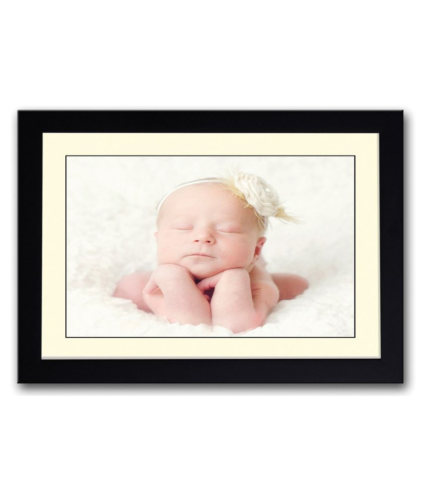 Artifa Matte Cute Baby With Closed Eyes Painting With Wood Frame