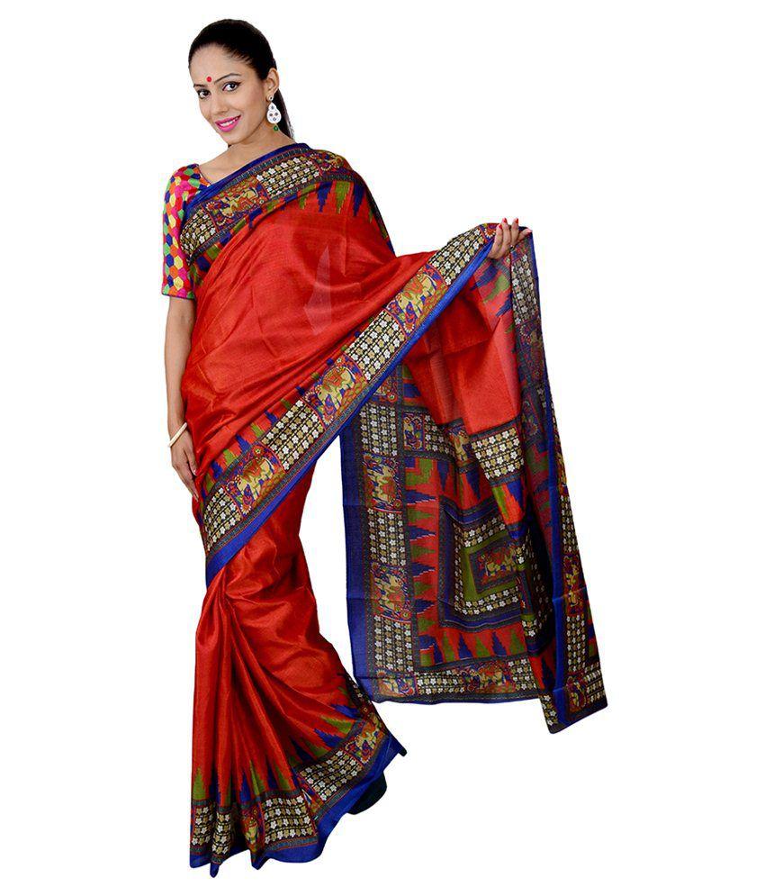 El Sandlo Red Bhagalpuri Silk Saree