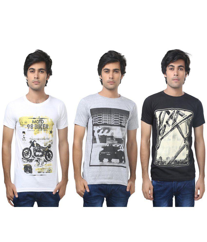 Louis Mode Multicolour Cotton T-Shirt - Pack of 3