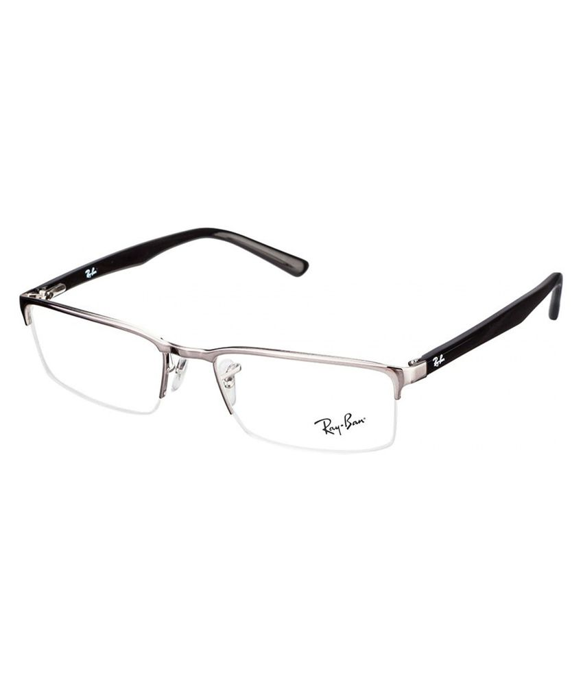 Ray-Ban Grey Metal Half Rim Frame Eyeglasses - Buy Ray-Ban Grey ...
