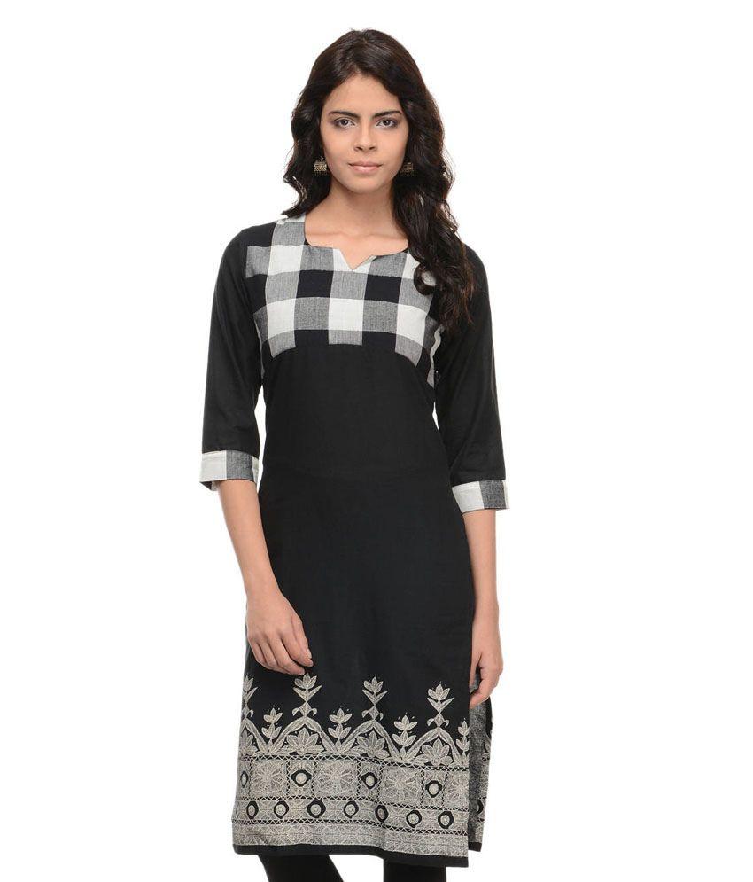 Shuddhi Black Cotton Kurti