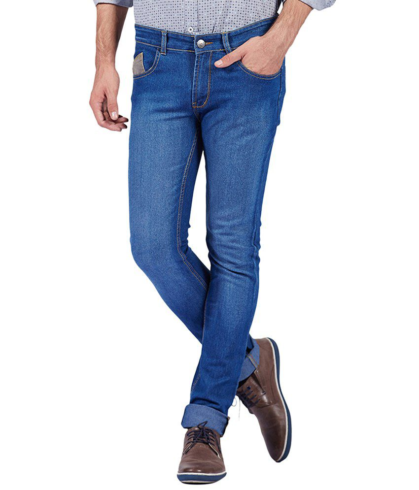 Yepme Appealing Blue Cyrus Slim Fit Denims for Men