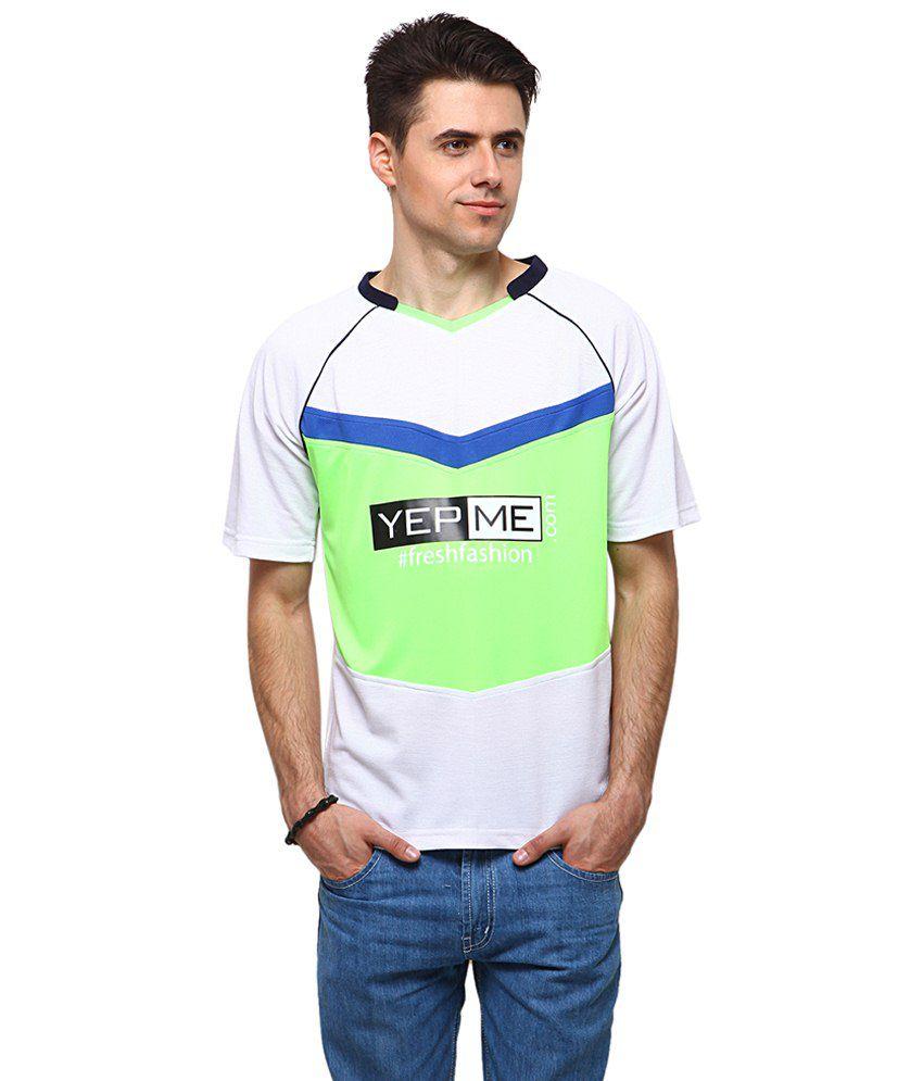 Yepme Green & White Jamie Sports V Neck Printed T Shirt for Men