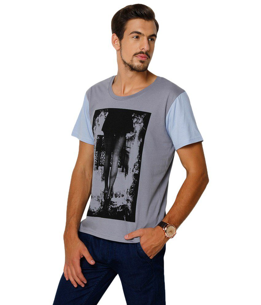 Black t shirt yepme -  Yepme Grey Black Long Legs Round Neck Printed T Shirt For
