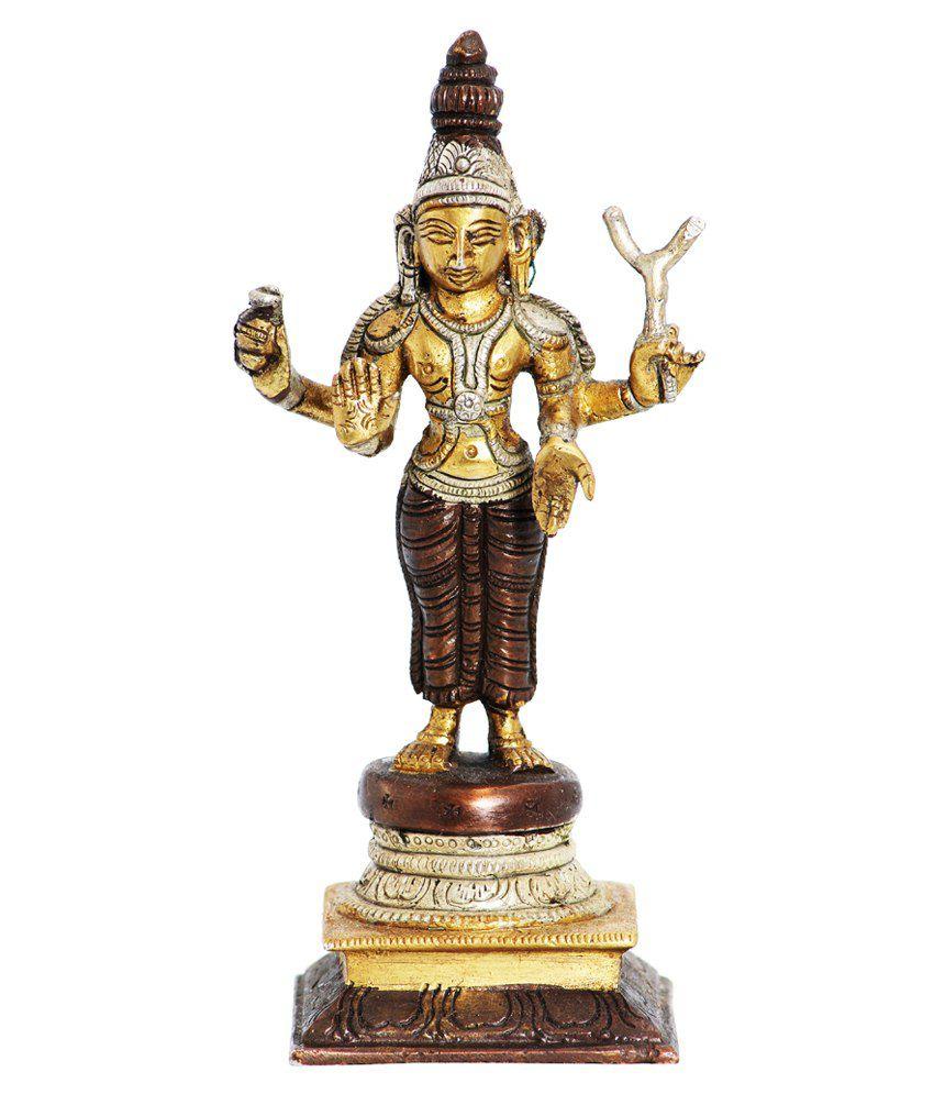 Ark Creation Brown & Yellow Brass Hindu God Shiva Standing