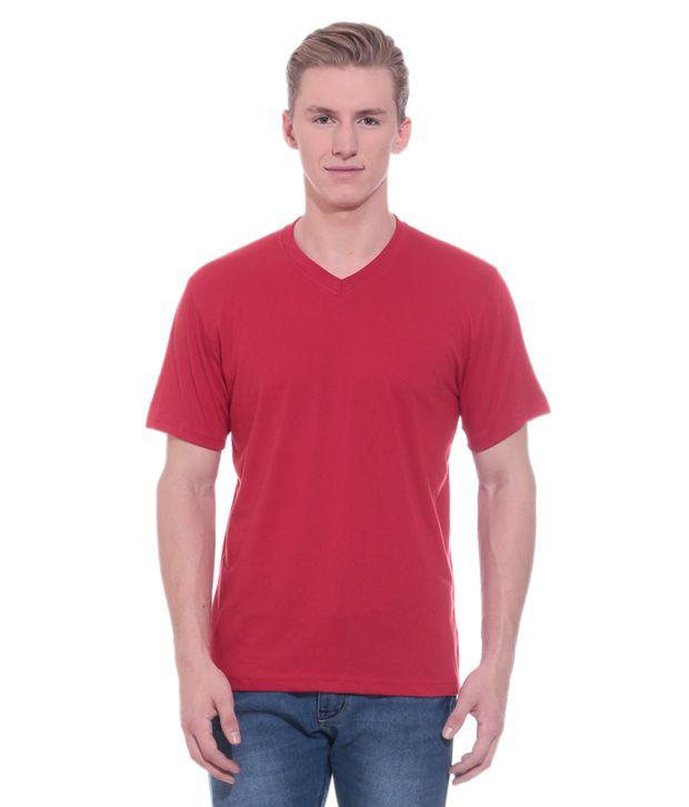 Shopdayz Red Cotton T Shirt
