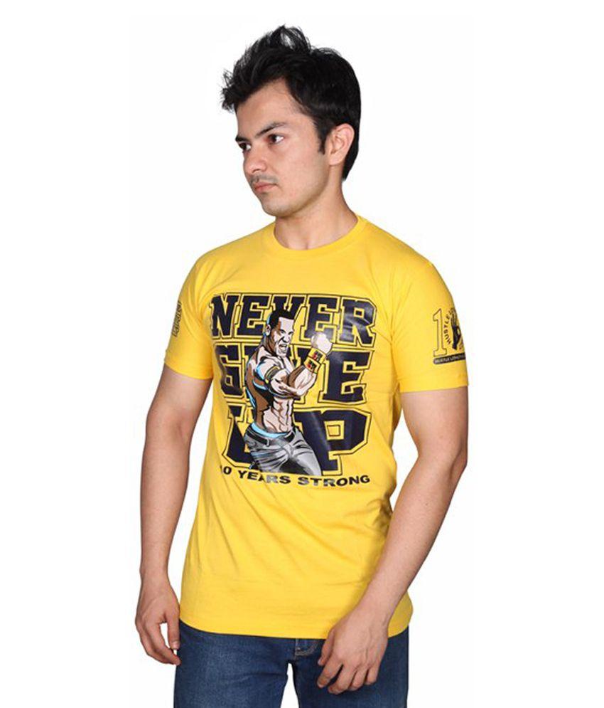 Attitude Yellow Cotton T-Shirt
