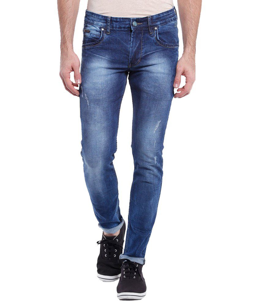 Vintage Appealing Dark Blue Slim Fit Jeans for Men