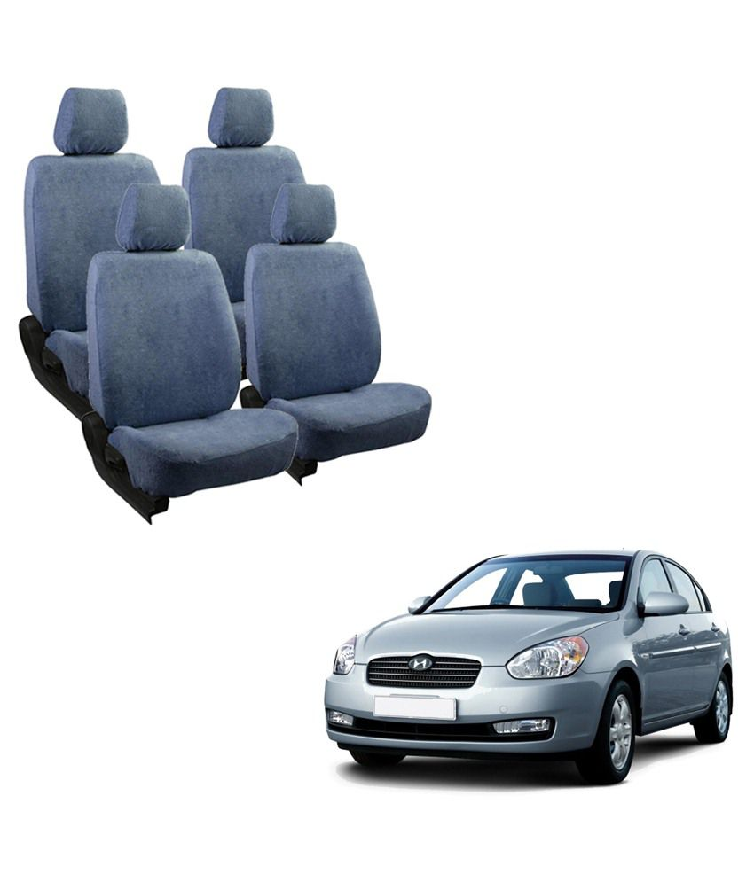 Allure Auto Cotton Blue Towel Seat Cover Complete Set For Hyundai