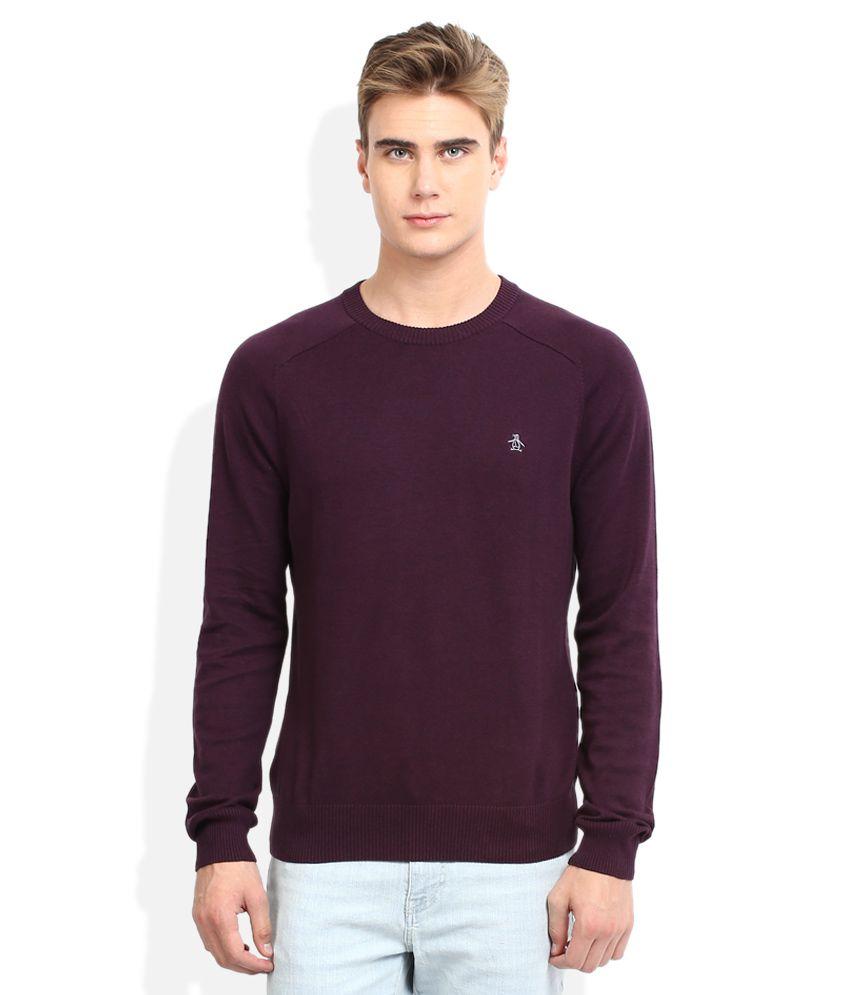 Original Penguin Purple Solid Round Neck Sweatshirt