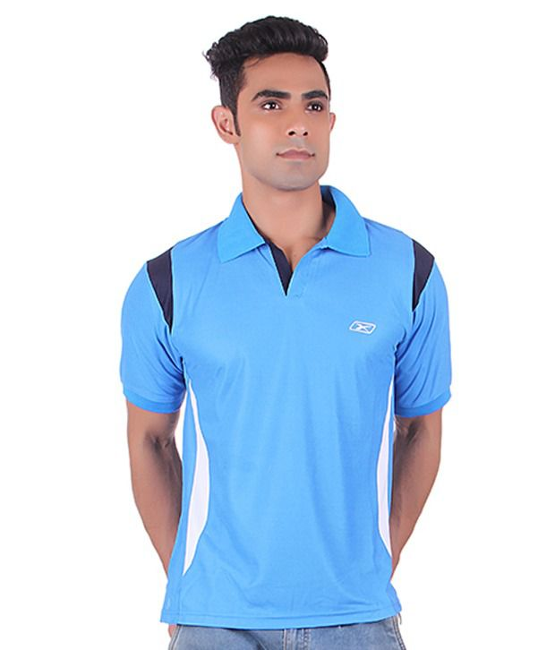 EX10 Blue Polyester Polo T Shirt