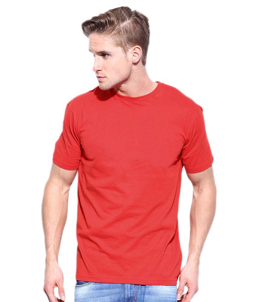 Sree Meenakshi Enterprises Red 100 Percent Cotton T-shirt