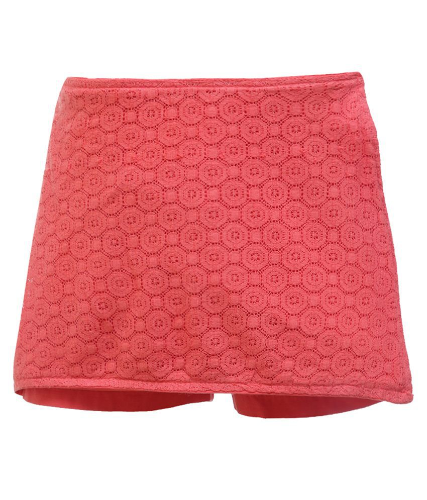 UFO Pink Cotton Casual Skirt