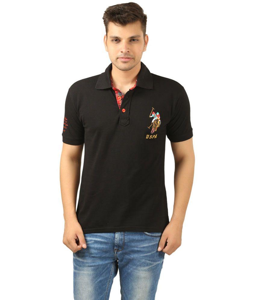 Uspa Black Cotton T-Shirt