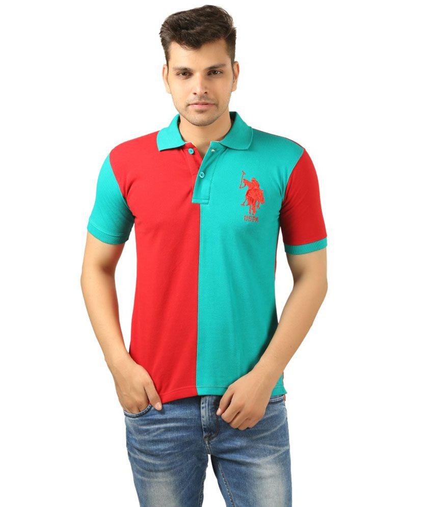 Uspa Red Cotton T-Shirt
