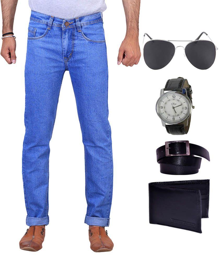 X-CROSS Combo Of Blue Regular Fit Jeans, Wallet, Watch, Sunglasses &  Belt