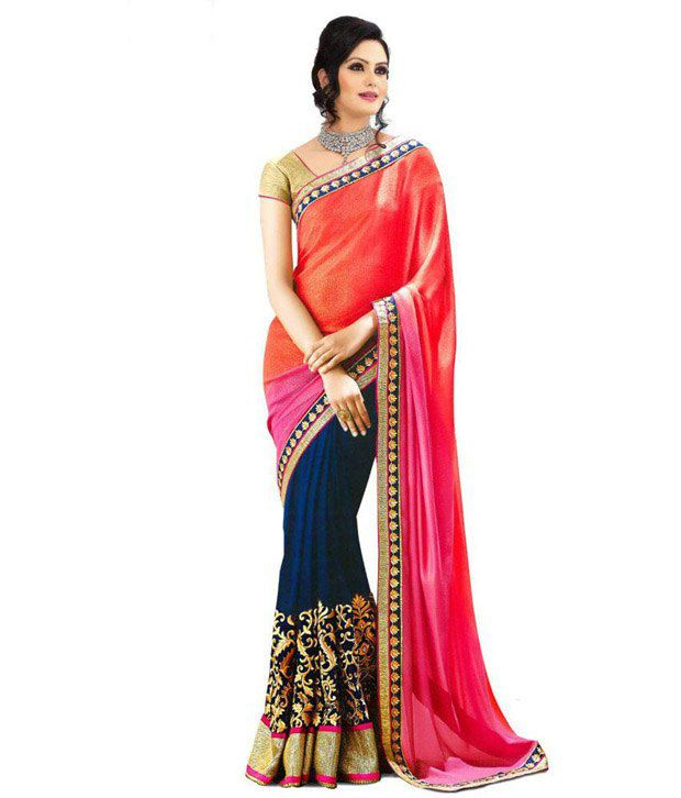 838283026 EthnicAndStyle Designer Sarees Red and Pink Georgette Saree - Buy EthnicAndStyle  Designer Sarees Red and Pink Georgette Saree Online at Low Price ...