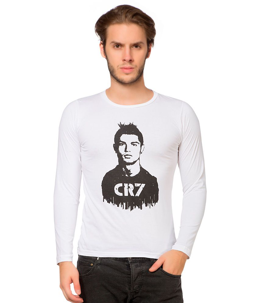 Alan Jones White Cotton CR7 Printed Full Tshirt