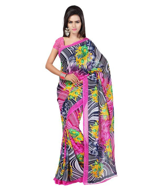 Ambaji Half and half Navratri Black Faux Georgette Saree