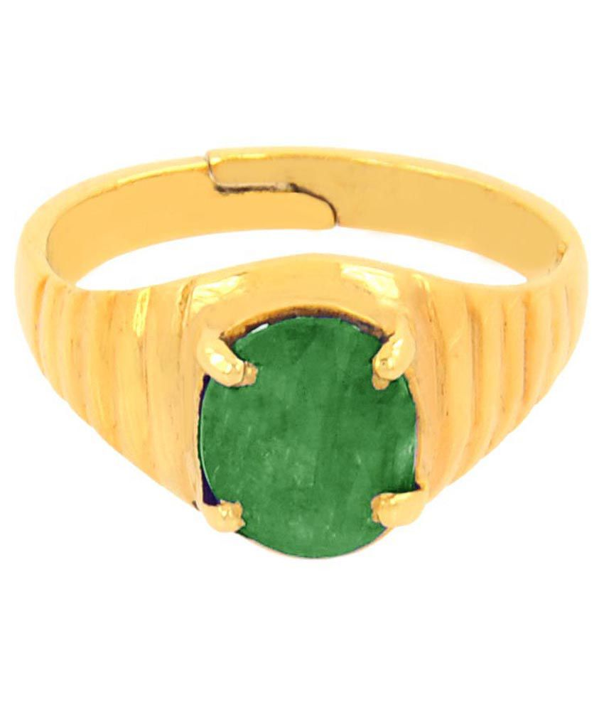 Avaatar Coloured Stone Golden & Green 5 Dhatu Ring