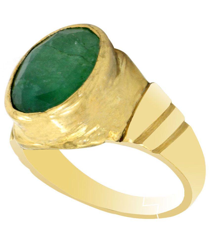 Avaatar Coloured Stone Golden & Green 5 Dhatu Ring