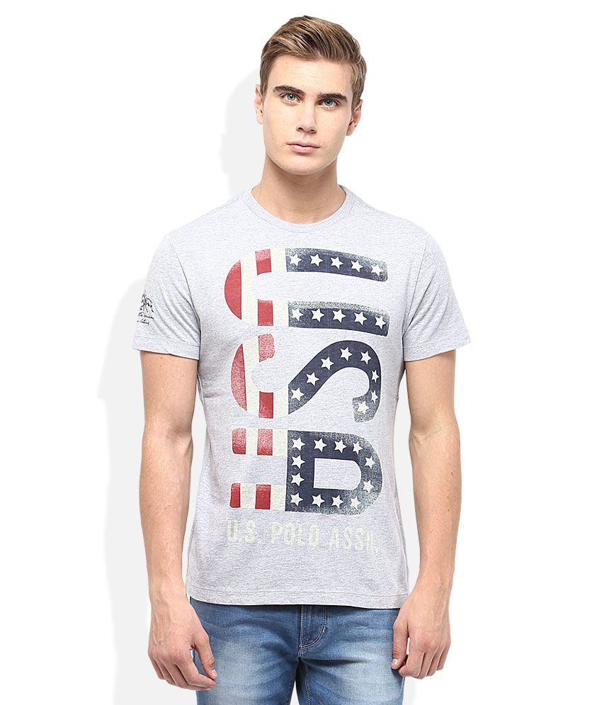 U.S.Polo Assn. Grey Round Neck T-Shirt