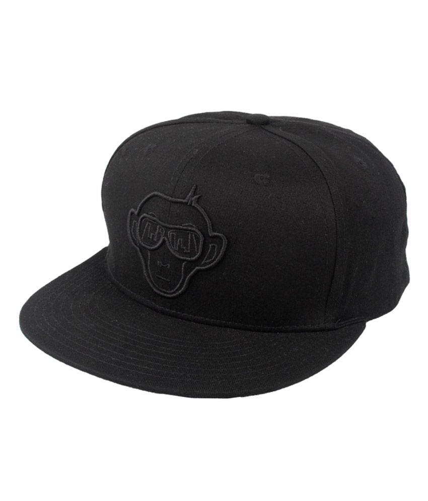 Urban Monkey Black Cotton Baseball Cap For Men