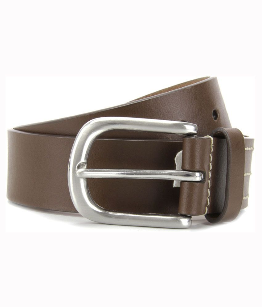 Wrangler Brown Pin Buckle Leather Belts For Men