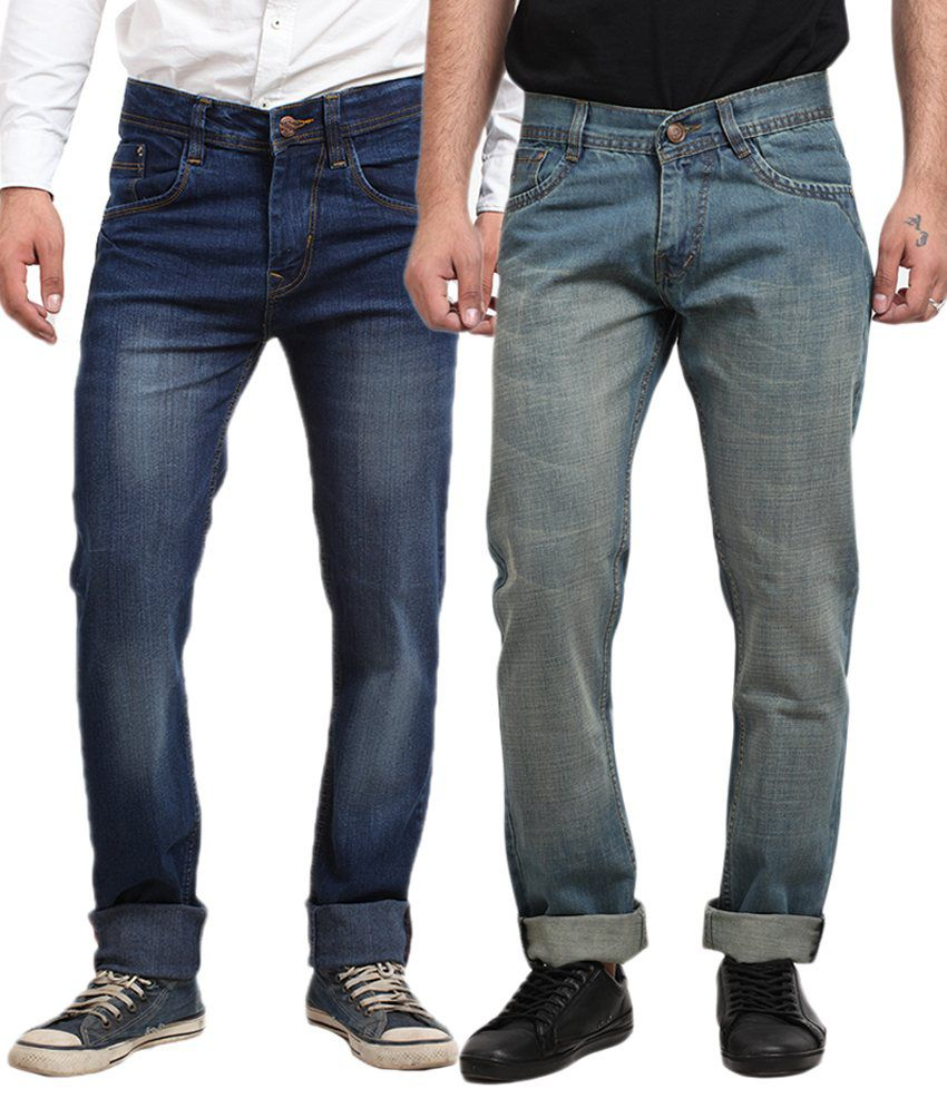 X-CROSS Blue Cotton Blend Regular Fit Jeans - Pack of 2